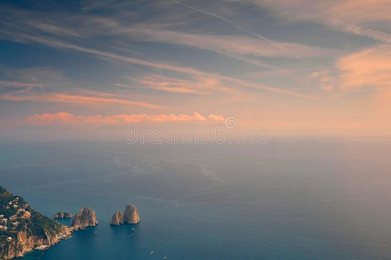 Sunset in a Capri island. Italy royalty free stock photography