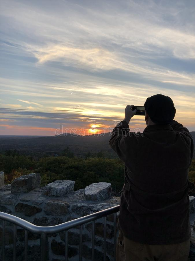 Sunset Capture atop Mount Battie royalty free stock photos