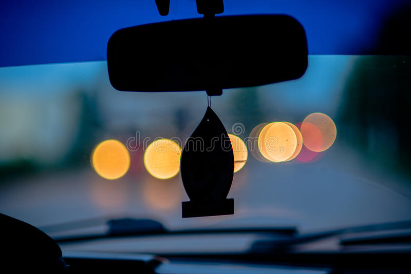 Sunset in car stock image
