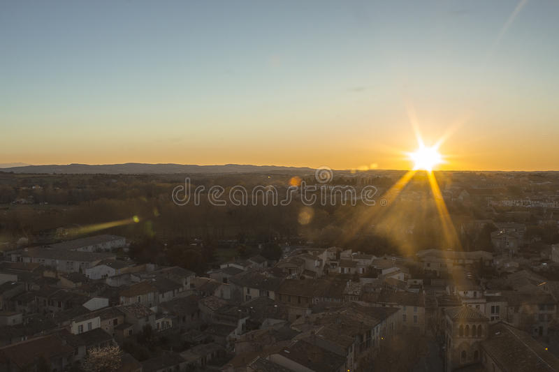 Sunset in Carcassone, France. Carcassonne, a hilltop town in southern France's Languedoc area, is famous for its medieval citadel royalty free stock image