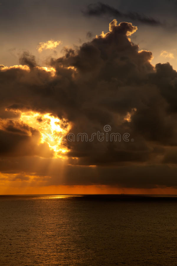 Sunset on the Caribbean Sea royalty free stock image