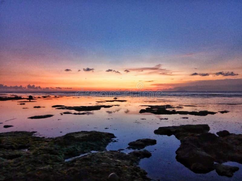 Sunset in Carita. Mutiara Carita Banten Indonesia royalty free stock photos