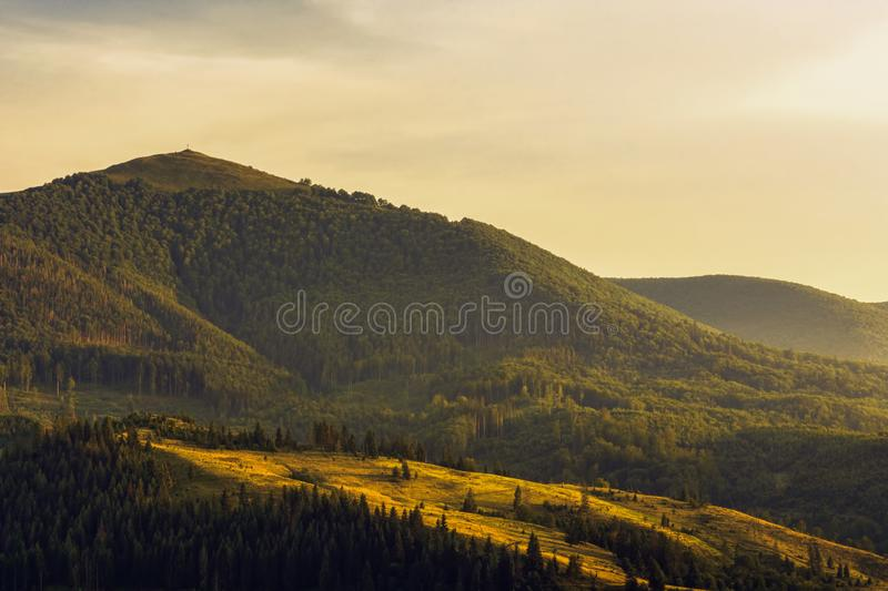 Sunset in mountains. Carpathians royalty free stock photo