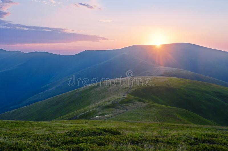 Sunset in the Carpathians. Summer mountain landscape. Carpathian royalty free stock images