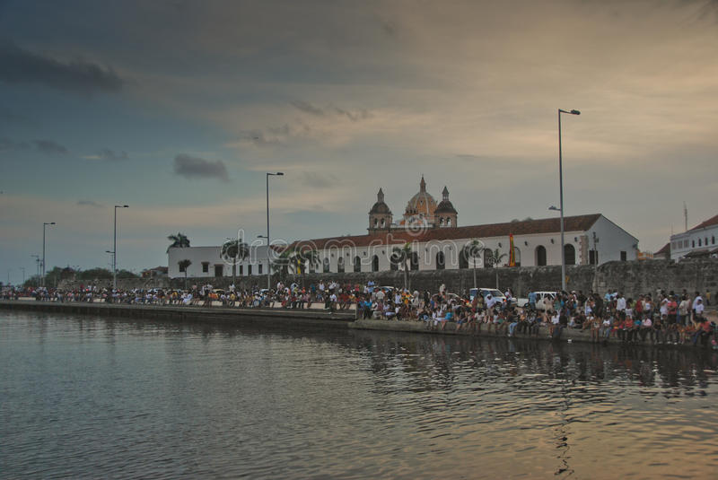 Sunset in Cartagena royalty free stock images