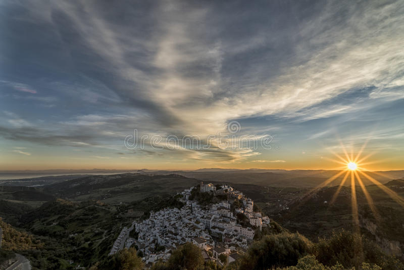 Sunset in Casares royalty free stock photos