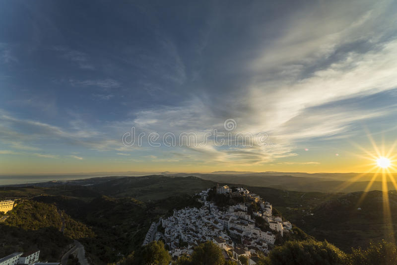 Sunset in Casares stock images