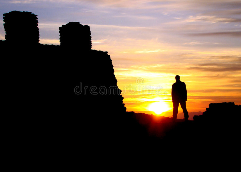 Sunset with castle stock photo