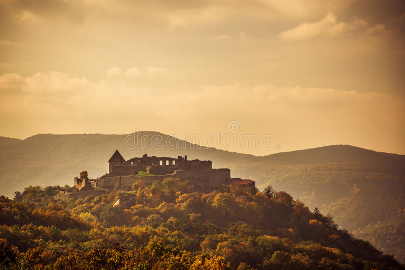 Sunset castle. Visegrad Hungary, Danube river and Medieval castle stock photos