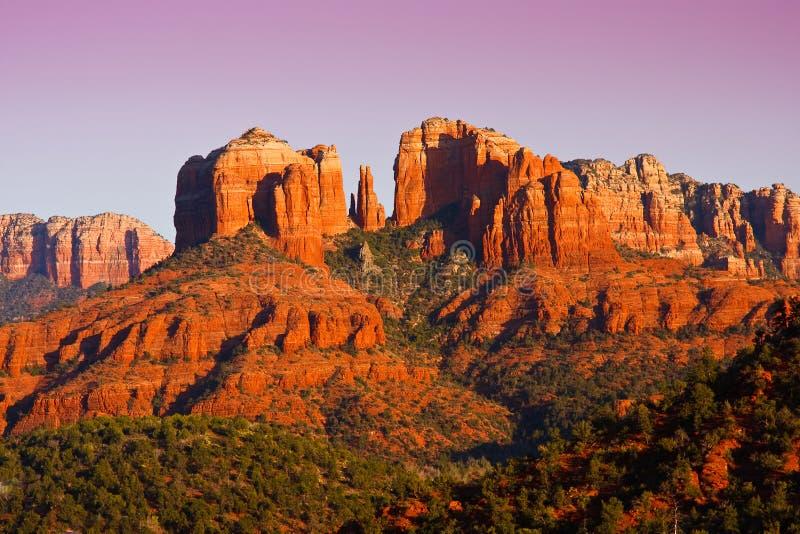 Sunset on Cathedral Rock near Sedona, Arizona. stock photo