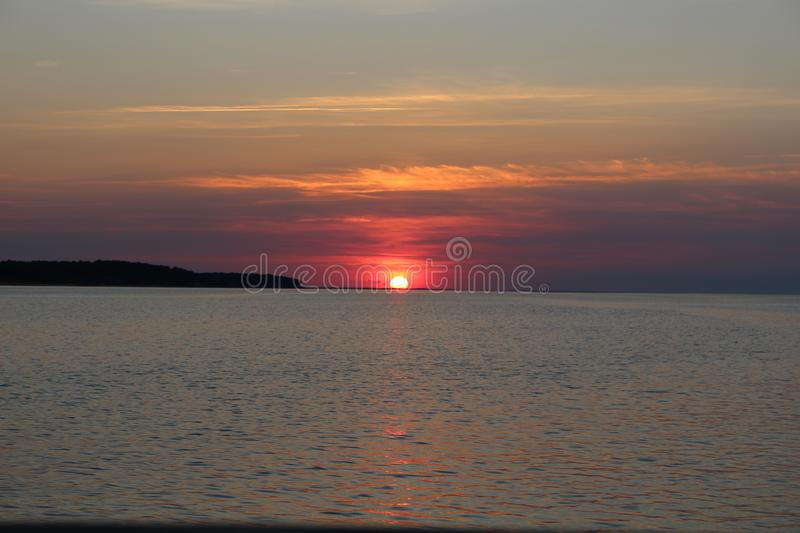 Sunset on the Chesapeake Bay in spring stock images