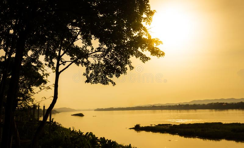 Sunset on the Mekong River royalty free stock photos