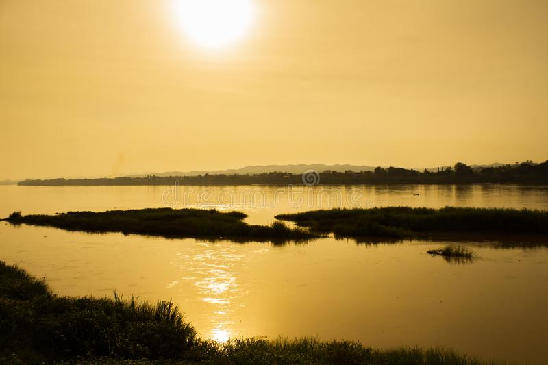 Sunset on the Mekong River royalty free stock photo