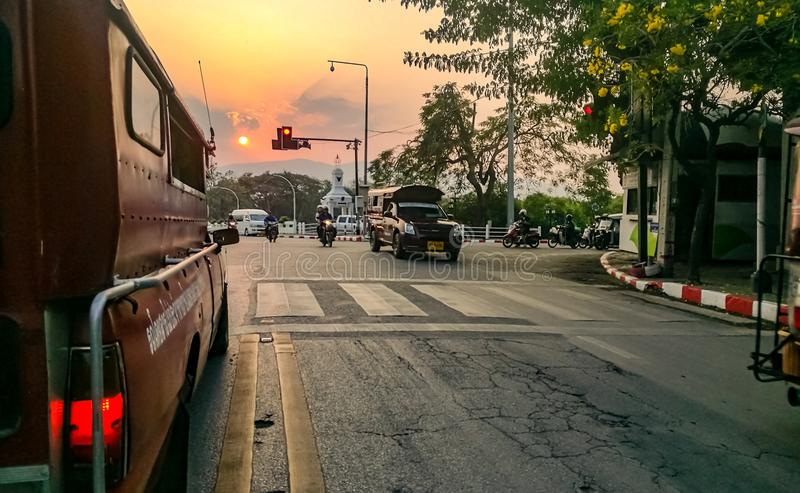 sunset on Chiang Mai& x27;s road royalty free stock images