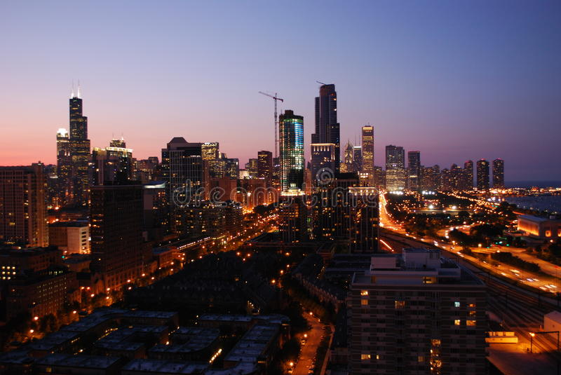 Download Sunset in chicago stock image. Image of summer, skyline - 22151633