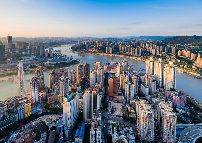 The sunset of Chongqing. The sunset of the CBD of Chongqing, China royalty free stock images