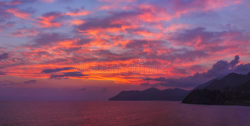 Sunset in Cinque Terre - Italy. Architecture background royalty free stock photos