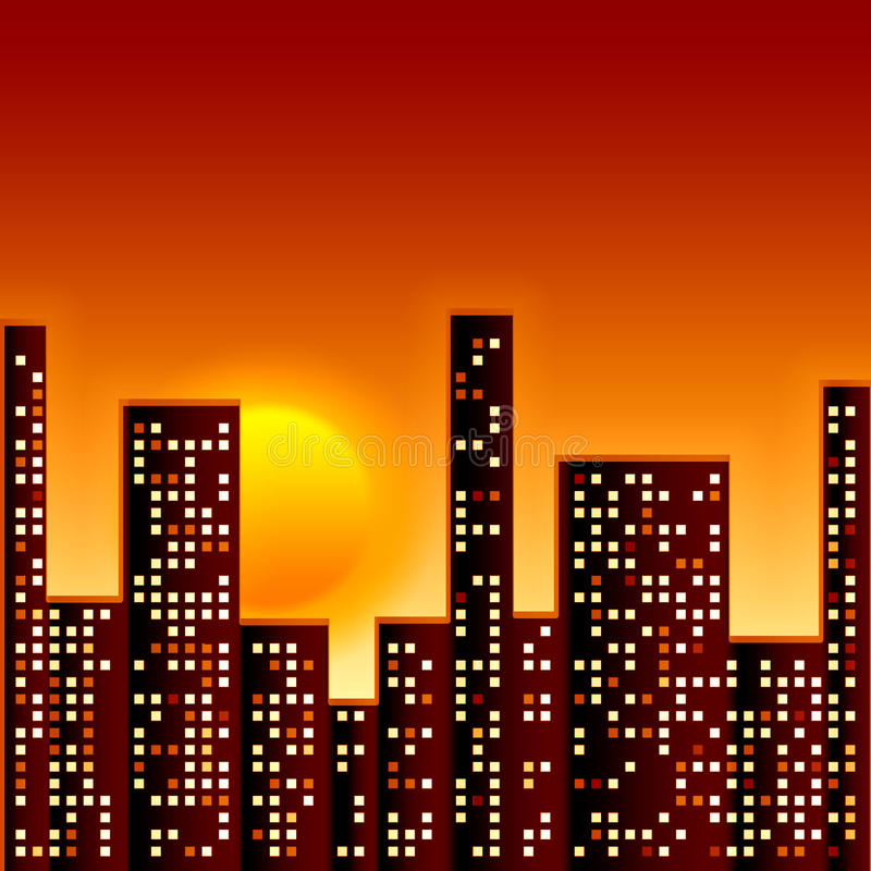 Sunset in city vector illustration