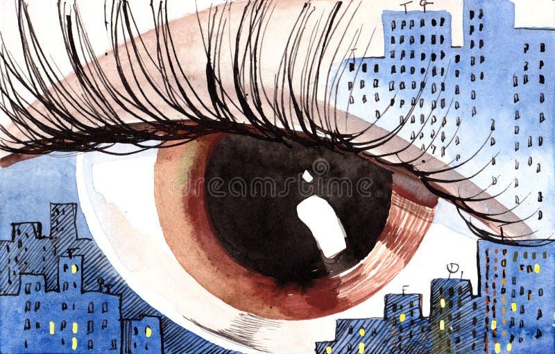 Sunset in the city. Like human eye vector illustration