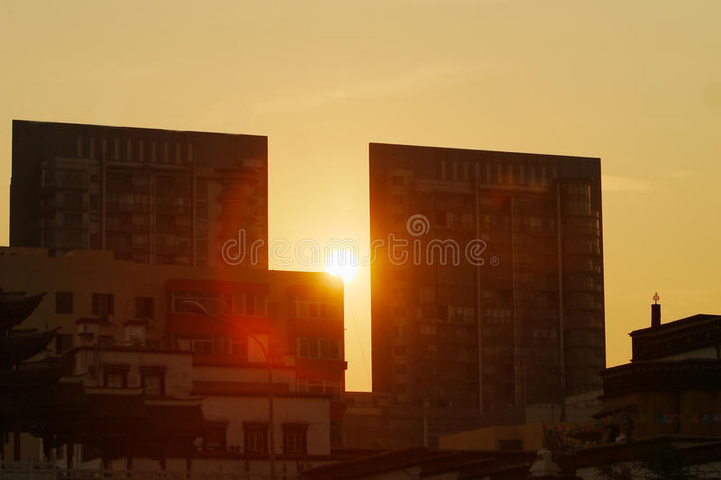 Sunset in city royalty free stock images