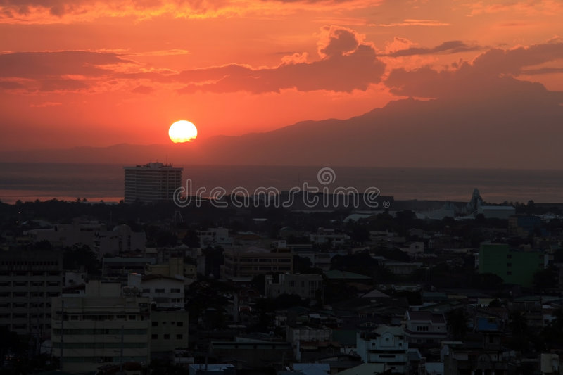 Sunset in the city royalty free stock photo