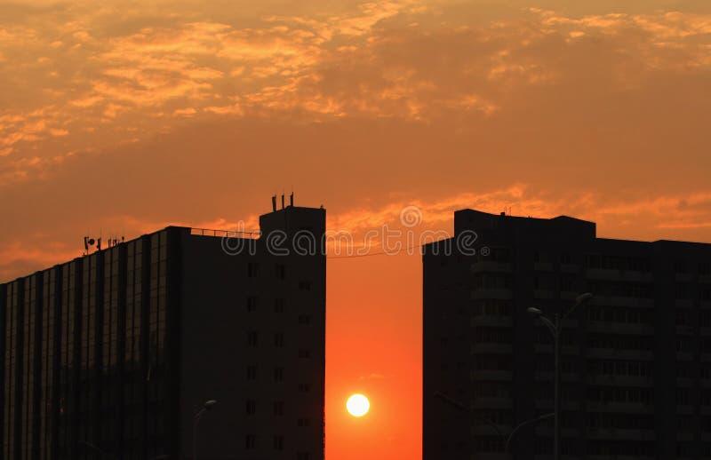 Sunset at city royalty free stock photos