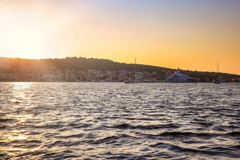 Sunset in the city of Argostoli, Kefalonia island, Greece royalty free stock photo