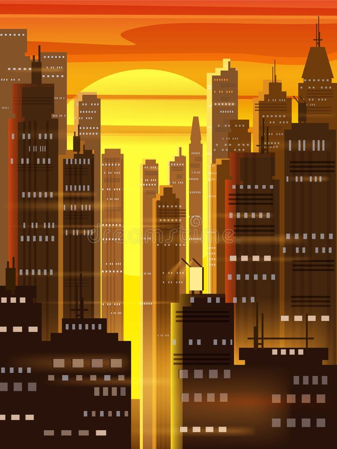 Sunset city, city scene, skyscrapers, towers, starry sky, lights, horizon, perspective, background, vector, isolated. Sunset city, city scene, skyscrapers stock illustration