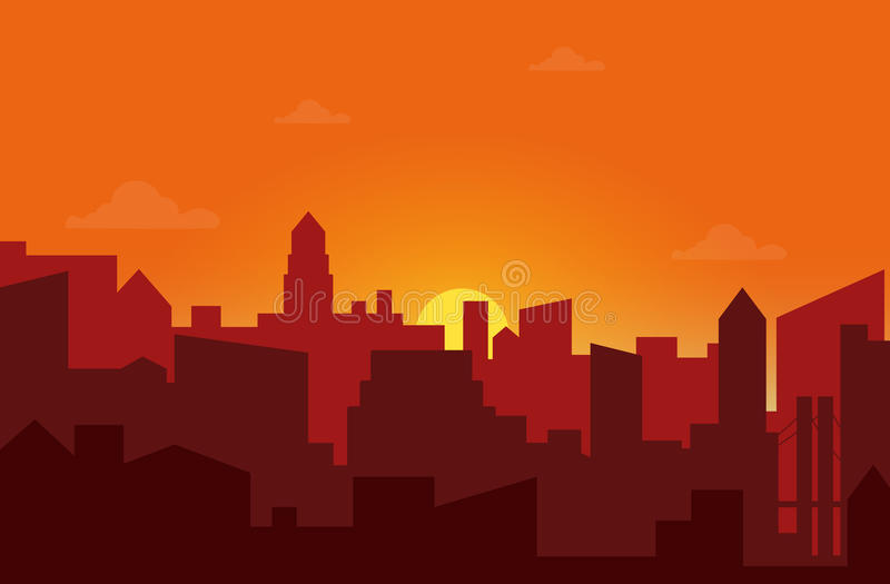 Sunset in the city. Cityscape silhouette sunrise vector illustration. Sunset in the city. Cityscape silhouette sunrise vector illustration stock illustration