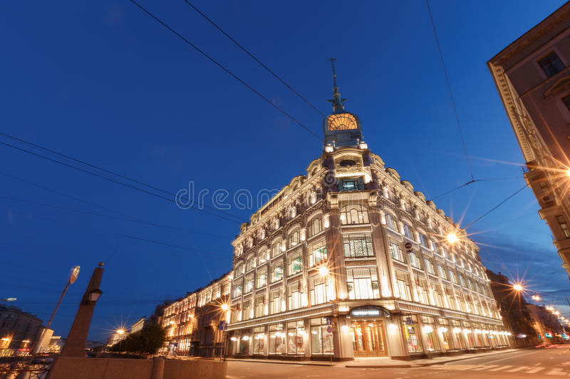 Sunset in the city. Downtown St. Petersburg, Russian Federation. Sunset in the city. Lights cars. Downtown St. Petersburg, Russian Federation stock photo