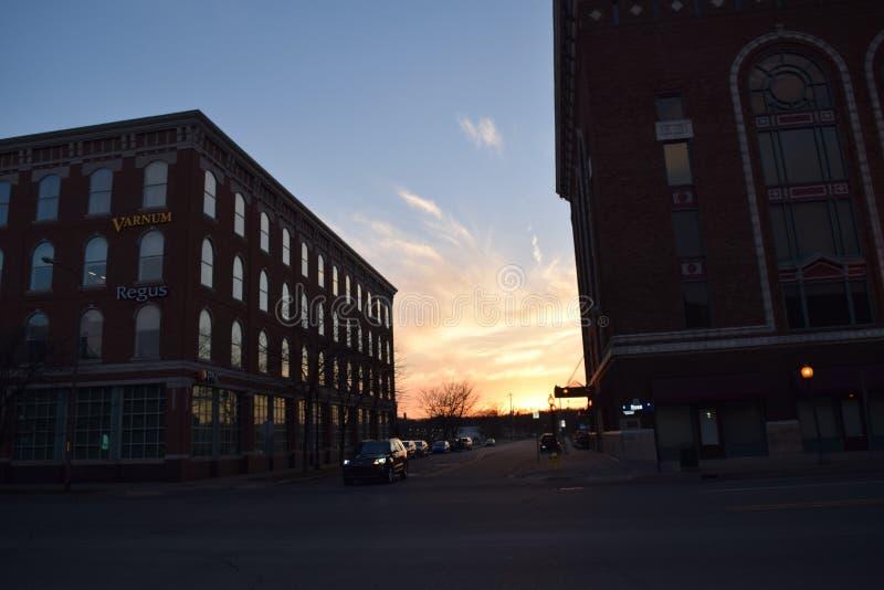 Sunset in the city. Kalamazoo mi sunset stock photo