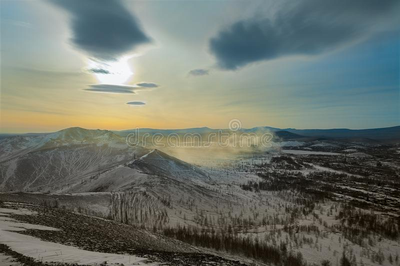 Sunset in the city of Karabash. The dirtiest city in the world. January 2018 stock image