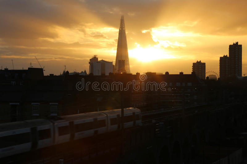 Sunset in the city of London stock photo