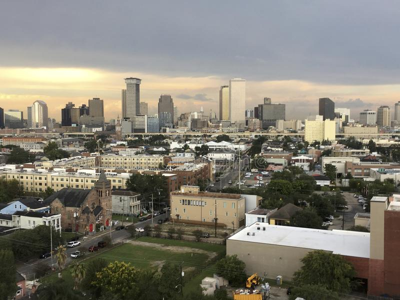 sunset in the city of New Orleans stock photography