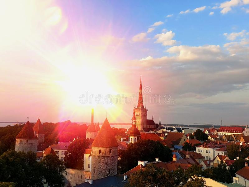 Sunset in City  skyline beautiful horizon life City landscape Tallinn Old Town, Estonia 0,08,2019 Tallinn Panoramic view from the royalty free stock photos