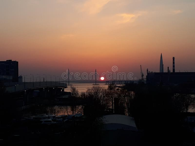 Sunset in the city, St. Petersburg, Russia. Sunset city  st petersburg russia royalty free stock photo