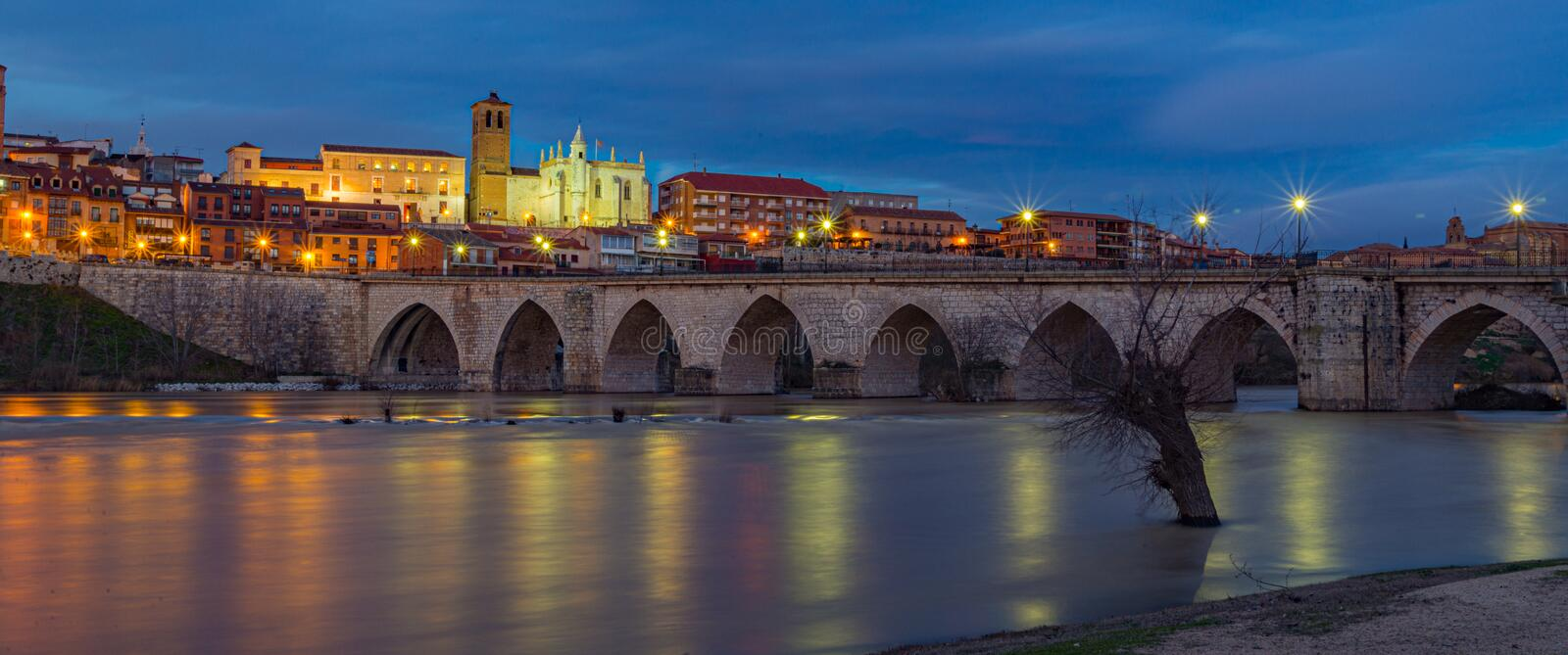 sunset in the city of Tordesillas Spain royalty free stock photos