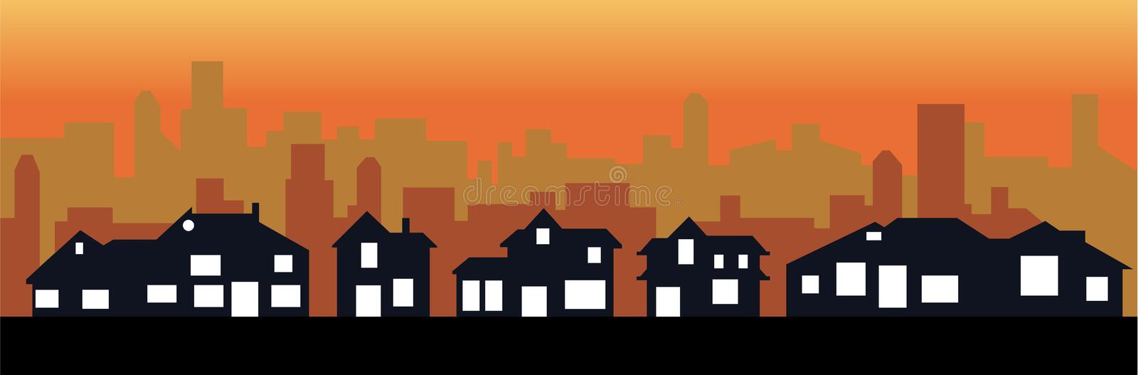 Sunset city and town vector illustration