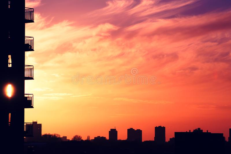 Sunset in city stock photo