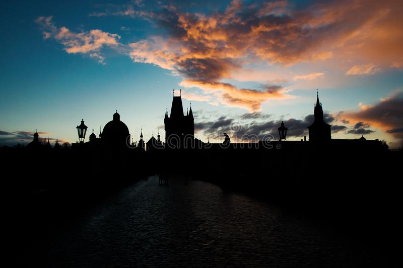 Sunset cityscape on Charles Bridge royalty free stock photos