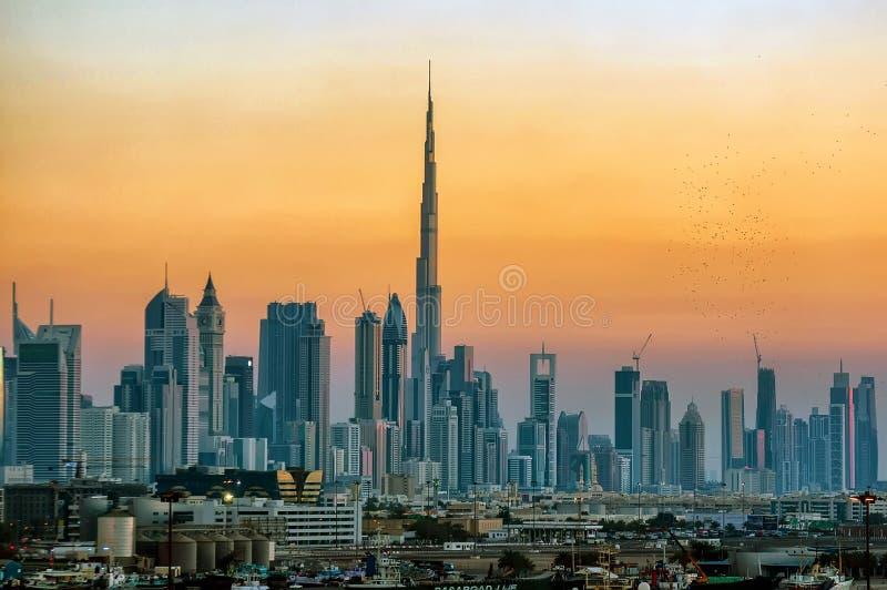 Sunset/CITYSCAPE IN Doubai royalty-vrije stock fotografie