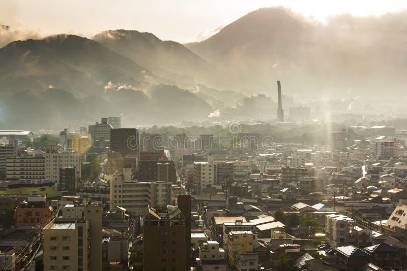 Sunset Cityscape view of Beppu City and Beppu bay from Beppu Tower, Oita, Kyushu, Japonia zdjęcia stock