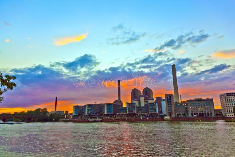 Sunset  With Cityview Of Frankfurt Royalty Free Stock Photos