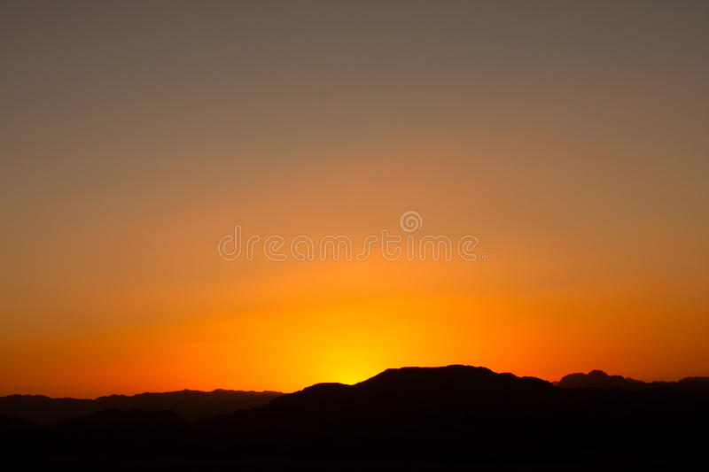 Sunset and clear sky in Wadi Rum, stock images