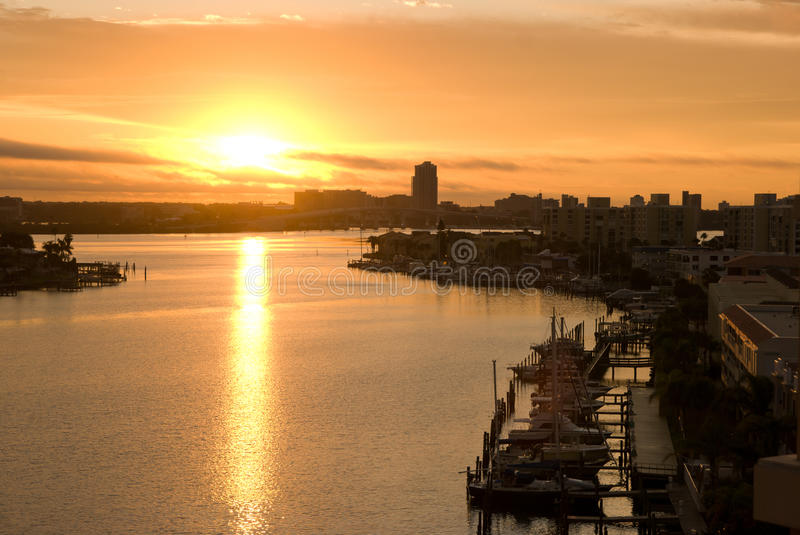 Sunset of clearwater. At tampa florida royalty free stock images
