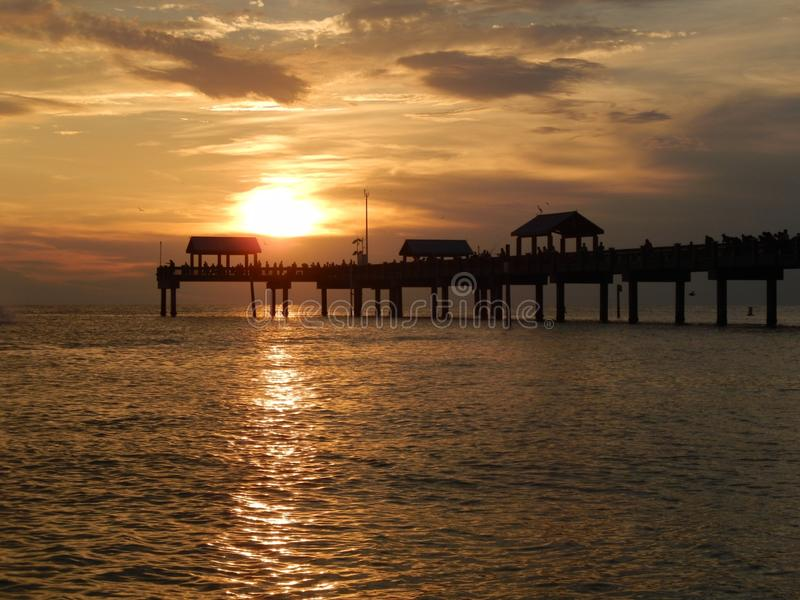 Sunset in Clearwater. Pier 60 at Clearwater, USA with sunset over stock photos