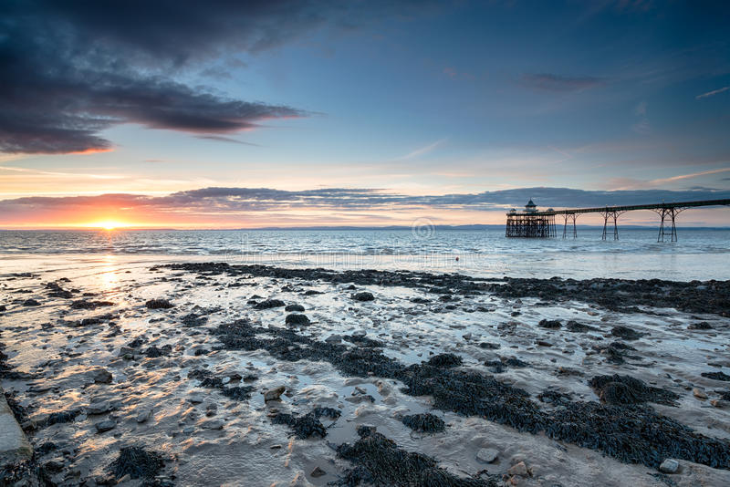 Clevedon Pier. Sunset at Clevedon Pier in Somerset stock photography
