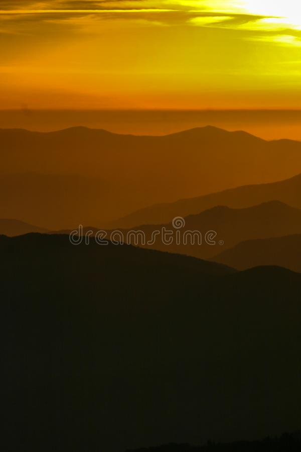 Golden sunset on the Smoky Mountains in Tennessee. royalty free stock photography