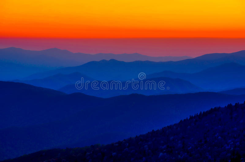 Orange Sunset Great Smoky Mountain National Park stock photo