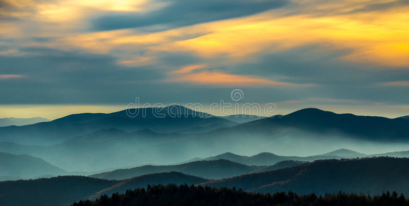 Sunset Great Smoky Mountain National Park. Clingmans Dome Sunset Great Smoky Mountain National Park stock images